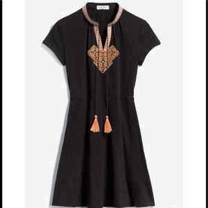 THML Black Dress with Tribal Design Tassel Tie